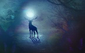 Картинка сюрреализм, луна, олень, by Mike-Uriel
