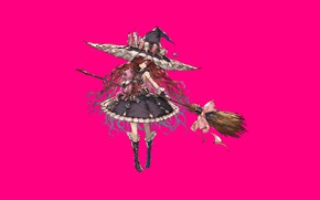 Картинка fantasy, game, dress, hat, pink, anime, beautiful, asian, manga, witch, asiatic, mahou, Granblue Fantasy, japonese, …
