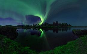 Картинка звезды, отражения, ночь, озеро, река, дома, северное сияние