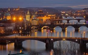 Картинка ночь, огни, река, Прага, Чехия, мосты, Влтава
