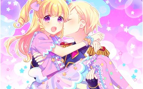 Картинка романтика, поцелуй, аниме, арт, двое, PriPara