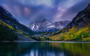 Картинка осень, небо, горы, озеро, склоны, Колорадо, Colorado, Скалистые горы, Maroon Lake, Maroon Bells, Rocky Mountains, …