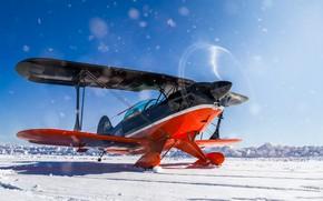 Обои пропеллер, самолет, зима, крылья, снег, биплан