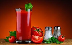 Обои петрушка, помидоры, стакан, томатный сок