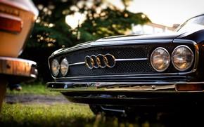 Картинка Audi, Черный, Ретро, Машина, Черная, Белая, Решетка, Машины, Фары, 100, Audi 100, Audi 100 C1 …