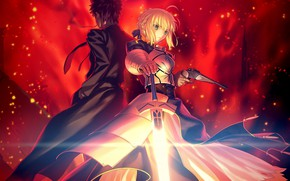 Картинка Fate / Grand Order, сейбер, арт, парень, Судьба/великая Кампания, аниме