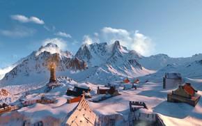 Картинка снег, горы, маяк, the witcher 3 wild hunt