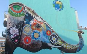 Картинка дом, стена, земля, граффити, слон, шарик
