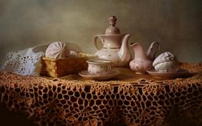 Картинка стол, чай, горячий, чайник, пар, чашка, натюрморт, блюдце, скатерть, зефир
