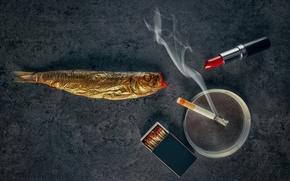 Картинка рыба, помада, сигарета