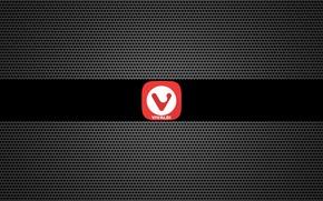 Картинка metal, black, grid, browser, desktop wallpapers, Vivaldi