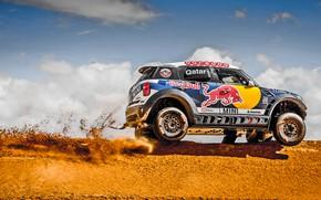 Картинка Песок, Mini, Горы, Пыль, Спорт, Скорость, Гонка, Холмы, Red Bull, Rally, Ралли, Дюна, Raid, MINI …