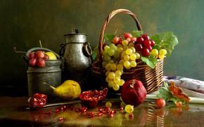 Картинка корзина, виноград, груша, гранат