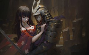 Картинка Samurai, girl, hug, sword, breast, Dao Le Trong, kimono, armor, fantasy, warrior, artwork, painting, fantasy ...