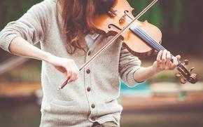 Картинка девушка, скрипка, смычок, скрипачка