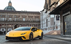 Обои city, Huracan, yellow, Lamborghini, Lamborghini Huracan Performante, Huracan Performante