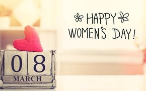 Обои Women's Day, 8 марта, gift, сердечки, heart, romantic, happy