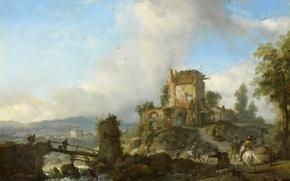 Картинка пейзаж, масло, Филипс Вауэрман, картина, Охота на Оленя