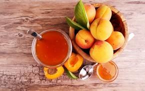 Картинка фон, ложка, абрикос, листики, абрикосовый джем