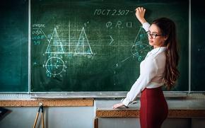 Картинка очки, учительница, мел, педагог, строгая