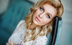 Картинка взгляд, блондинка, голубые глаза, локоны, Hakan Erenler, Дарья Германовна