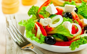 Картинка лук, перец, салат, маслины, греческий, фета