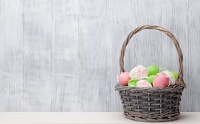 Картинка корзина, Пасха, spring, Easter, eggs, decoration, basket, Happy, яйца крашеные
