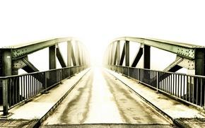 Картинка свет, мост, туман