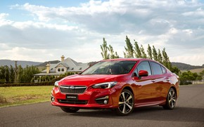 Картинка дорога, авто, Subaru, Impreza, red, красная, sedan