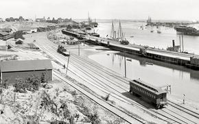 Картинка море, ретро, корабль, причал, вагон, пирс, США, 1899-й год