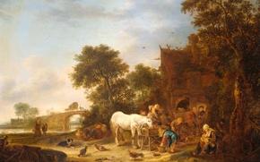 Обои пейзаж, дерево, масло, картина, Исаак ван Остаде, Постоялый Двор с Лошадью у Кормушки