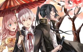 Картинка зонт, аниме, арт, парни, K Project