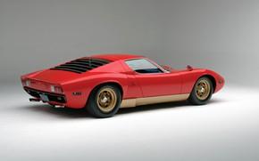 Картинка Красный, Авто, Lamborghini, Красная, Машина, Фон, 1971, Автомобиль, Supercar, Lamborghini Miura, P400, SVJ, Lamborghini Miura …