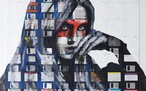 Картинка девушка, дискеты, Nick Gentry, Сюрреализм, SILENT SYNDICATE