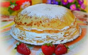 Картинка Клубника, Strawberry, Торт, Cake, блинный торт