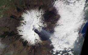 Картинка снег, фото, гора, вулкан, НАСА, Этна, Сицилия