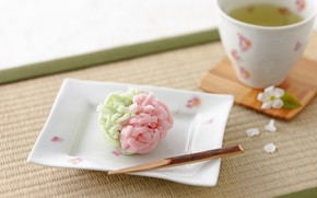 Картинка Japan, десерт, блюдце, чашка чая, wagashi