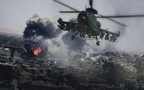 Картинка дым, вертолёт, Military helicopter