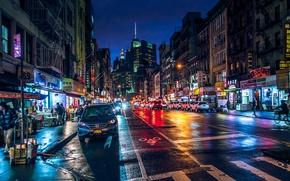 Картинка ночь, огни, движение, улица, здание, Нью-Йорк, Манхеттен, New-York, Manhatten, чайнатаун
