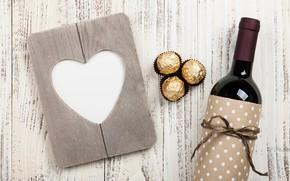 Обои love, wood, chocolate, любовь, romantic, gift, вино, wine, Valentine's Day, hearts, конфеты, сердце, подарок, бутылка