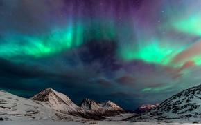 Обои небо, северное сияние, зима, горы, север, ночь