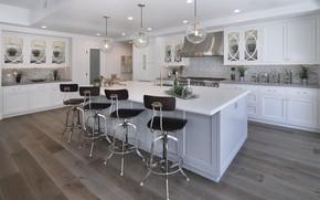 Картинка дизайн, стол, лампы, мебель, стулья, интерьер, кухня