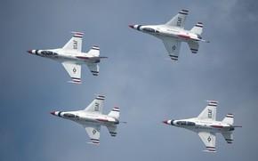 Картинка полет, самолет, истребитель, F-16 Fighting Falcon