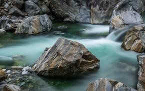 Картинка ручей, камни, скалы, поток
