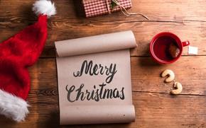 Картинка Новый Год, Рождество, подарки, Christmas, wood, Merry Christmas, Xmas, decoration, gifts, santa hat, holiday celebration