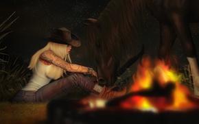 Обои девушка, лошадь, вечер, костер