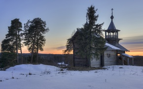 Картинка весна, вечер, деревня, церковь, Карелия, Маньга
