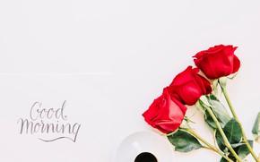 Картинка розы, букет, красные, red, cup, romantic, coffee, good morning, roses, чашка кофе