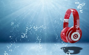 Обои свет, headphones, арт, абстракция, спектр, wallpaper., звук, радиоволна, музыка, headphones water