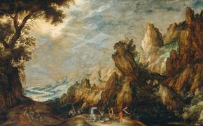 Картинка дерево, масло, картина, мифология, Пейзаж с Обращением Савла, Kerstiaen de Keuninck